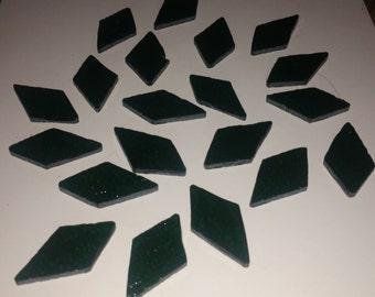 20 Piece Green Stained Glass Diamond Pieces  / Mosaic / Glass art / Sun Catchers
