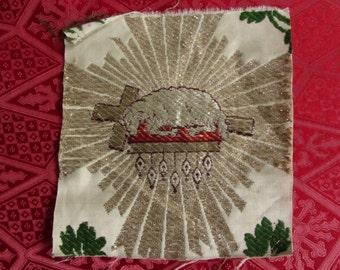 Agnus Dei cloth embroidered in gold and silver religious ornament 11972 wire