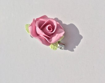 Brooch made of polymer clay, Flower brooch, Pink flower, Brooch with rose, Gift for her,  Pink rose