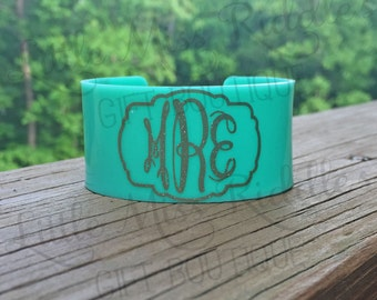 Monogram Acrylic Cuff Bracelet, Available in 5 Colors