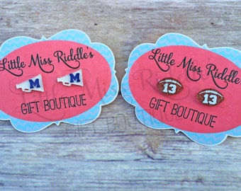 Personalized Football or Megaphone Acrylic Stud Earrings, Football and Cheer Earrings, Football Fan Earrings, Cheerleader Earrings, Custom