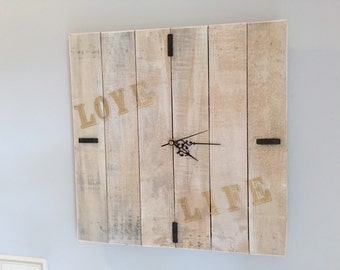 Rustic white washed Reclaimed wood wall clock