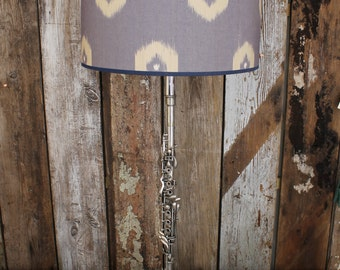 Silver plated Clarinet Lamp with Andrew Martin Ikat Shade