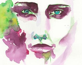 original watercolour portrait painting, original watercolor painting portrait, original watercolor portrait painting, watercolour, green, pink