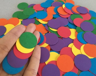 "Rainbow Confetti Circles 250 1"" // Table Decor // Cardstock Circles."
