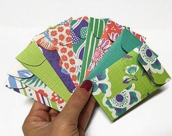 Set of 10 pcs Tropical Bohemio Gift Card Holders. Tropical Envelopes. Mini Envelopes. Patterned Envelopes. Tiny Envelopes. Spring Envelopes