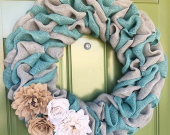 Spring Wreath, Summer Wreath, Burlap, Easter Wreath, Teal Wreath, Shabby Chic Wreath, Everyday Wreath, Coastal Wreath, Christmas Wreath