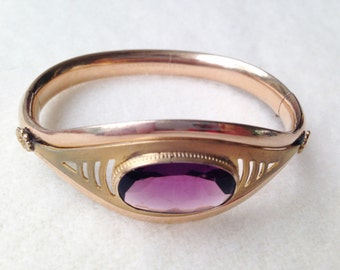 1908 Antique Edwardian 12ct Rose Gold GF Amethyst Paste Bangle Bracelet - BEB007