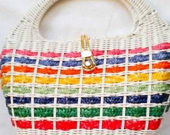 Valentines Day Sale Vintage White Multi Colored Bucket Handbag