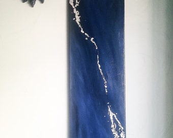 Abstract painting 30x90 cm - Abstract painting Supernatural inspired - Acrylic paint and silver foil - Blue painting