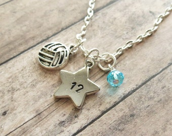 Volleyball Necklace, Volleyball Charm Necklace, Volleyball Pendant Necklace, Hand Stamped, Volleyball Team Gift, Player Number, Personalized
