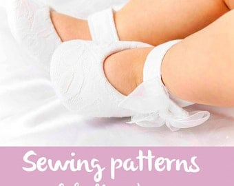 Pdf sewing patterns for children/ mary jane shoes for girls / Baby shoe pattern / girls party shoes / newborn baby girl shoes / 0M-12M / BOW