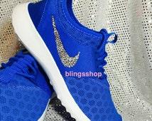 Blinged NIKE Juvenate. Royal Blue Customized With Swarovski Crystal.  Bling Nike Women Bling. Running Shoes. Nike Shoes