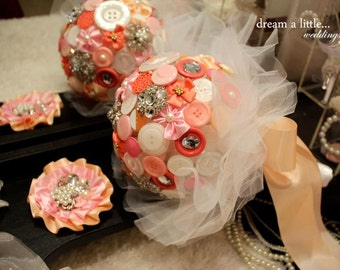 Handmade button flower Bouquet with Groom's Boutonniere