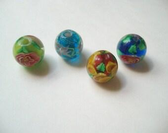 Lamp work beads (4), glass round flower beads, mixed glass, large glass beads, 4 large beads, glass flowers, flower lamp beads, 30mm glass
