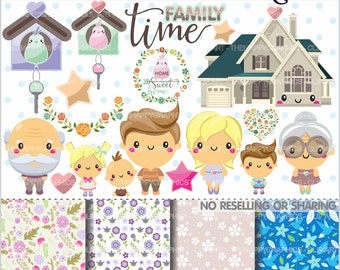 80%OFF - Family Clipart, Family Graphics, COMMERCIAL USE, Planner Accessories, Family Party, Family Time, Home Clipart, Home Graphic