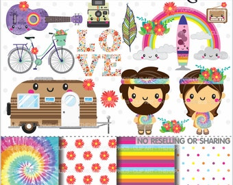 80%OFF - Hippie Clipart, Hippy Clipart, COMMERCIAL USE, Hippie Graphics, Planner Accessories, Hippie Party, Peace, Love, Hippie Van