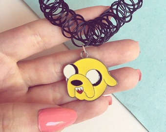 Adventure Time 90s Charm Tattoo Choker Necklace - Finn the Human and Jake the Dog