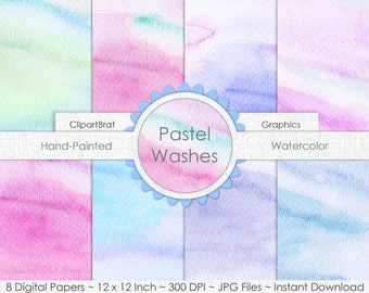 WATERCOLOR Digital Paper Commercial Use Digital Paper Pack Pastel Watercolor Wash Textures REAL Hand-Painted Watercolor Digital Backgrounds