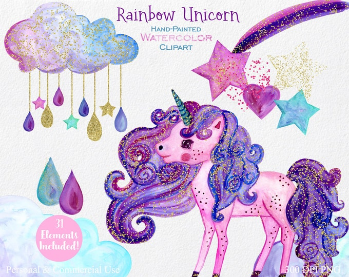 WATERCOLOR UNICORN Clipart Commercial Use Clipart 31 Elements Gold Confetti Purple Pink Rainbow Unicorn Rain Clouds Shooting Stars Clip Art