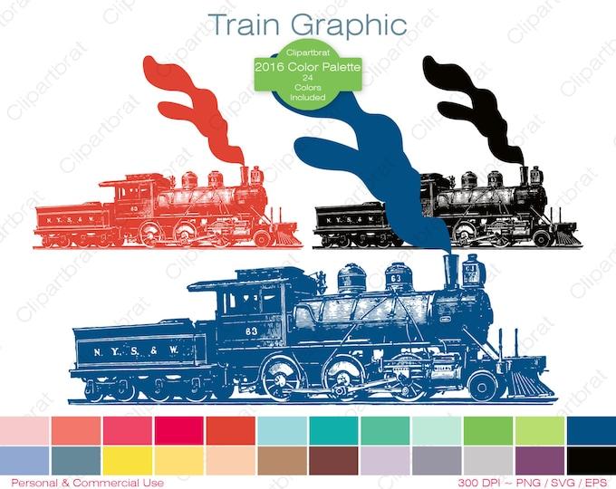 TRAIN Clipart Commercial Use Clipart Train Engine Graphic 2016 Color Palette 24 Colors Train Vector Graphic Digital Sticker Png Eps Svg