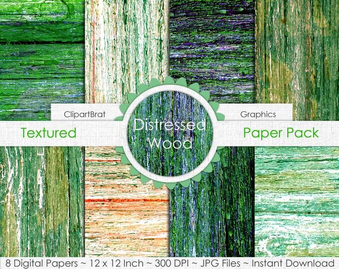OLD BARN WOOD Digital Paper Pack Commercial Use Digital Background Citrus & Green Wood Grain Digital Paper Painted Distressed Wood Papers