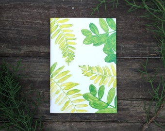 Eco Friendly A6 NoteBook- Leaves Stationery Recycled Paper Lined Writing Notebook Watercolour Ferns Plant Lovers