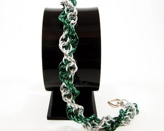 Inverted Spiral Chainmaille Bracelet in Green and Silver