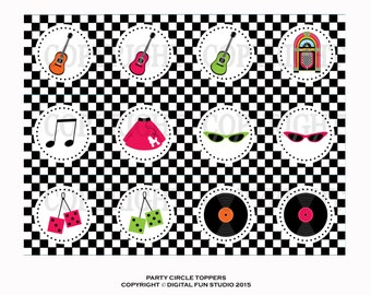 Back to the 50's DIY Party Circle Toppers for Cupcakes, Tags, and More INSTANT DOWNLOAD