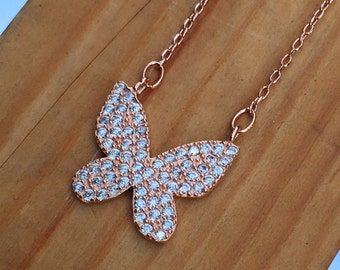 Large Butterfly Necklace 925 / Sterling Silver