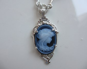Sterling Silver Vintage Style Setting with Cameo Pendant