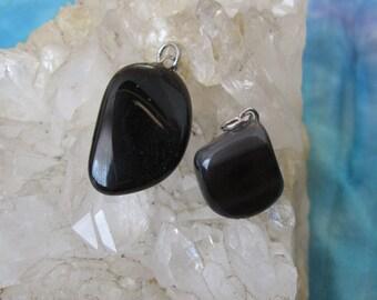 Silver Obsidian Pendant, Silver Sheen Obsidian Pendant, Black Obsidian Pendant, Obsidian Pendant, Silver Sheen Obsidian, Silver Obsidian