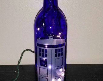 Dr. Who - Cobalt Blue Hand Etched Wine Bottle Lamp - Tardis Signal - Dr Who Lamp - Nightlight - Top Selling Dr Who