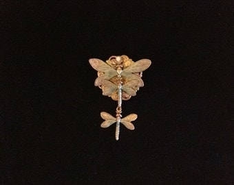 Dragonfly Pin Dragonfly Dangling Pin Goldtone Dragonfly Dragonfly Lover Dragonfly Collector Costume Jewelry Brooch