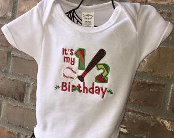 Sports half birthday onesie