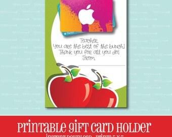 INSTANT DOWNLOAD,Apple Gift card Holder,Teacher,Gift Card Holder,Teacher Gift,Printable,Printable Gift Card,Teacher Appreciation