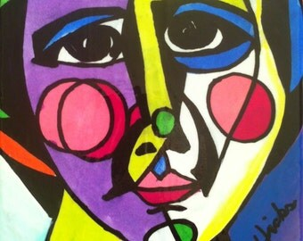 Cubist Self Portrait with Pearls