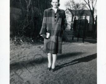 Vintage Snapshot - 1940's 1950's - woman, lady, peacoat, outside, smile, holding bo