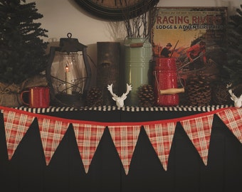 Christmas Banner, Plaid Banner, Bunting, Fabric Banner