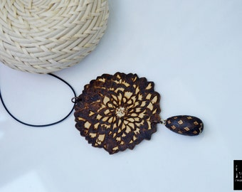 Lazer cut wooden jewelry,wooden necklace,necklace,tear drop floral necklace,floral necklace, tear drop, pyrography, necklace, one of kind