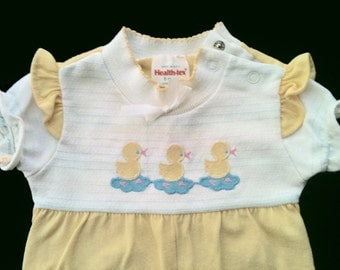 Yellow and white 6 months baby girl onesie romper, ruffles & duck appliques made in USA, gently used '70s