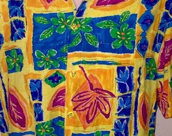 Vintage short-sleeve 100% Rayon Crinkle Hawaiian shirt by Xtreme Island Designs, vibrant neon colors, Sz M