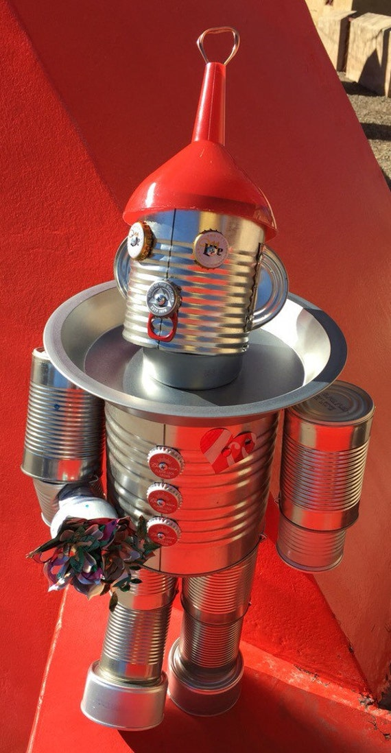 Tin man wizardofoz yard art bird feeder customized recycled for Bird feed tin