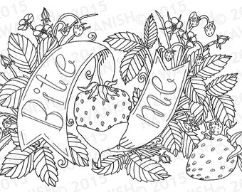 Bite Me Strawberry Adult Coloring Page Wall Art Gift Funny Humor