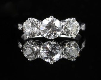 Antique Diamond Trilogy Ring Three Stone Diamond 2.50ct Platinum