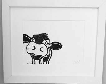 Cow Gift - Linocut Print - Cow Print - Valentines Gift - Home Decor - Cow Picture - Print - framed print - gifts for mums - Cow