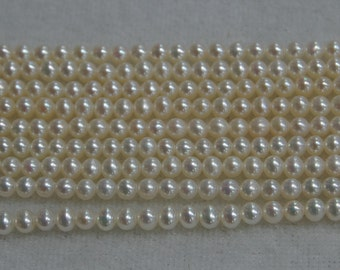 2-3mm Natural White Tiny Near Round Pearl Strand Necklace,Small Freshwater Loose Pearl Bead Strand,Seed Round Freshwater Pearl Strand