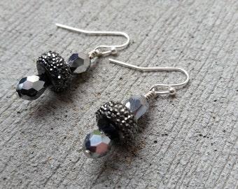 Charcoal Sparkle Dangle Earrings