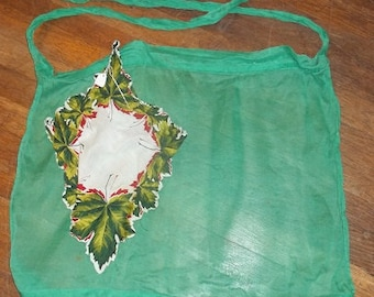 "Vintage Dark Green Sheer Apron with a  ""Hankie"" Pocket"