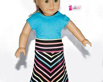 American made Girl Doll Clothes, 18 inch Doll Clothing, Striped Mitered Maxi Skirt made to fit like American girl doll clothes